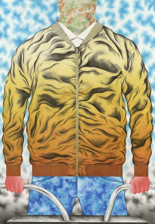 Sebastian Burger, Jacke, Oil on Paper, 100 x 70 cm, 2015, Galerie Tobias Naehring